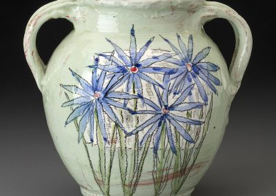 Sage Vase with Blue Flowers by Donna McGee